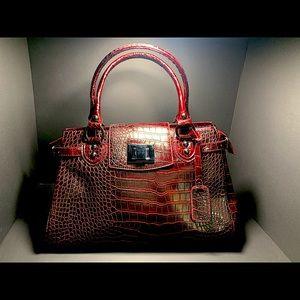 David Jones Burgundy Red Snakeskin Bag Purse